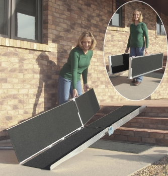 """<a href=""""http://www.wheelchairrampslifts.com/advice/folding-and-multi-fold-ramps-2.html""""><b>Folding and Multi Fold Ramps for Wheelchairs and Scooters</b></a><p>Nearly all wheelchair and scooter users should investigate multi-fold and folding ramps.  There is a wide range of different types of ramps that fall into these broad categories from multiple manufacturers. </p>"""